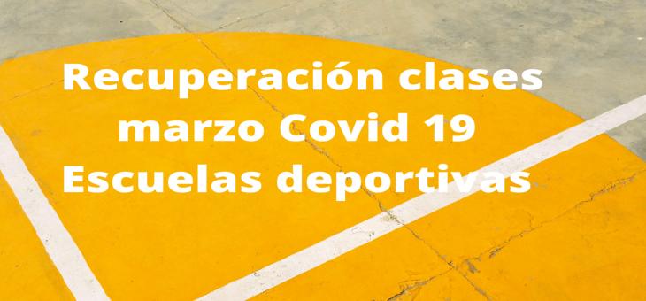 RECUPERACIÓN CLASES ESCUELAS DEPORTIVAS MARZO COVID 19